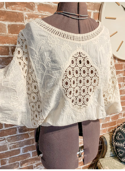Hayden Crochet Lace Top Ivory