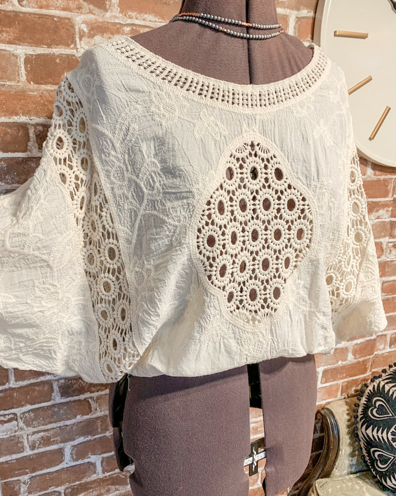 Hayden Crochet Lace Top Ivory One Size