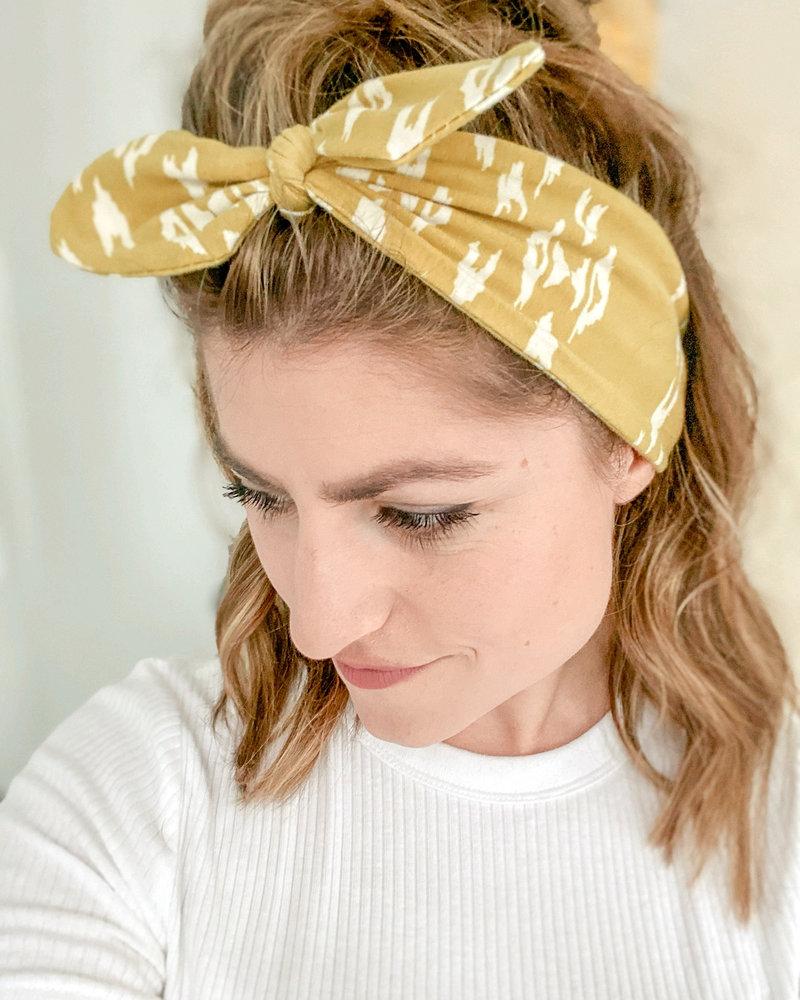 Adult Size Headband Teal Plaid