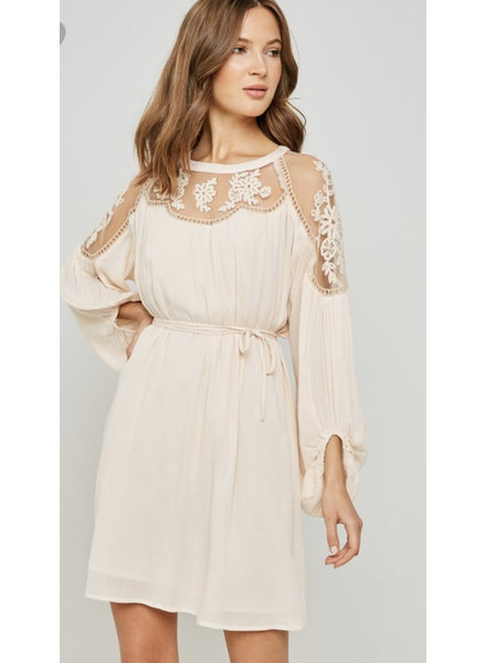 Hayden Belted Embroidered Lace Dress