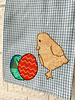 Denise Malone Chicks With Eggs Blue Gingham Tea Towel