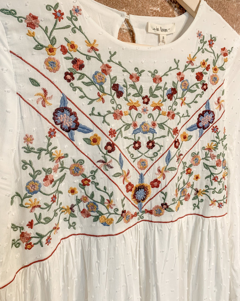 In Loom Swiss Dot Embroidered Dress