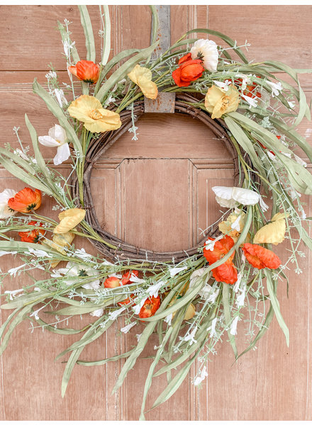 Mullberry Home Twig Wreath of Yellow Cream and Orange Poppie