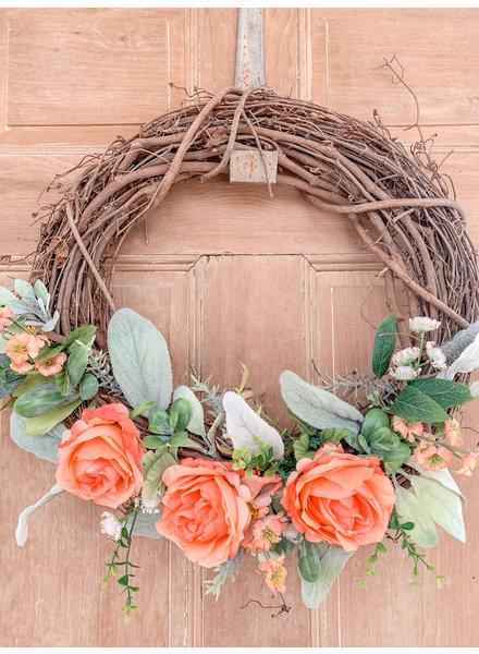 Julie Boyd Handmade Twig Coral Wreath