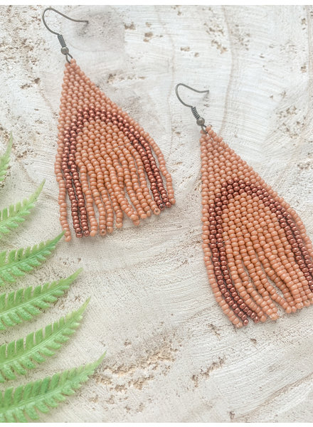 Vella Creative Handmade Rainbow Beaded Earrings Brown