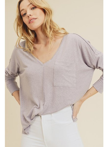 In Loom Dove Grey V-Neck Pocket Shirt