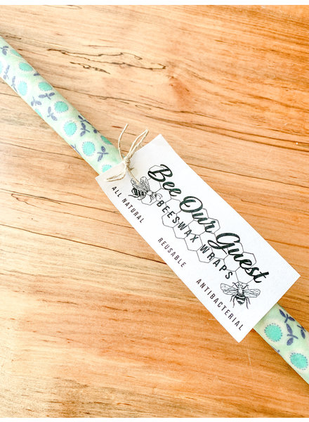 Bee Our Guest Beeswax Wrap Extra Large Roll Mint Flowers
