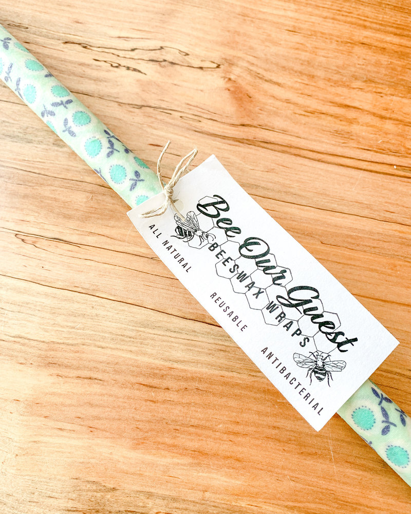 Bee Our Guest Beeswax Wrap Roll Mint Flowers