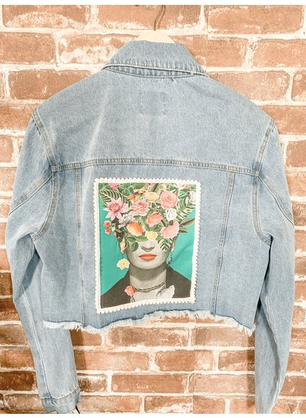 Crescent Moon Clothing Re Purpose Frida Blue Jean Jacket