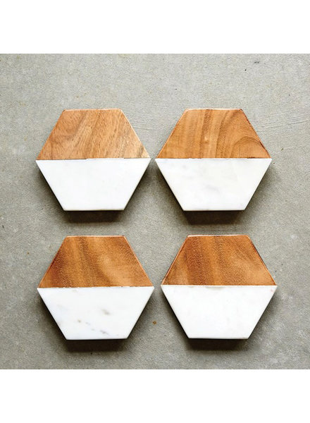 Creative Co Op Marble and Wood Hexagon Coasters