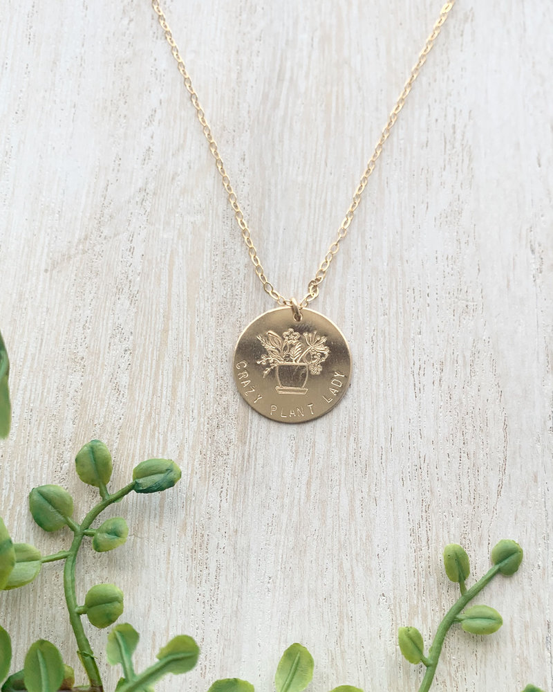 14k gold fill crazy plant lady circle