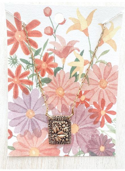 Bella Vita Garden Rectangle Pendant Necklace