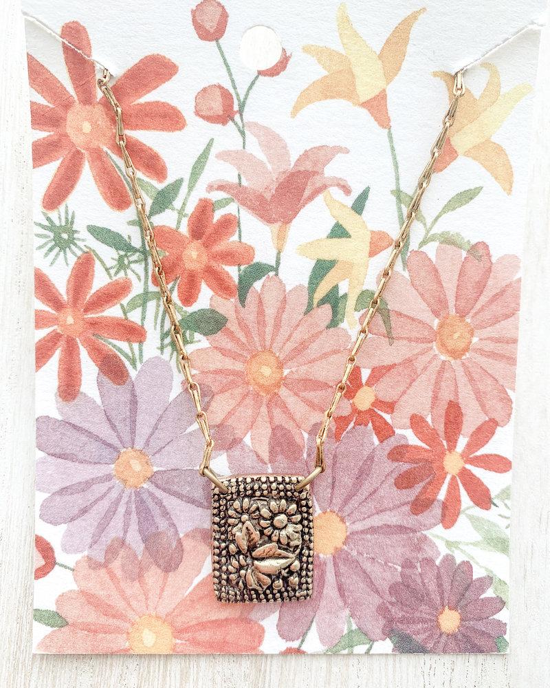 Bella Vita Garden Rectangle Gold Plated Pendant Necklace