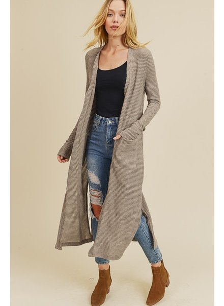 In Loom Waffle Knit Long Cardigan Taupe