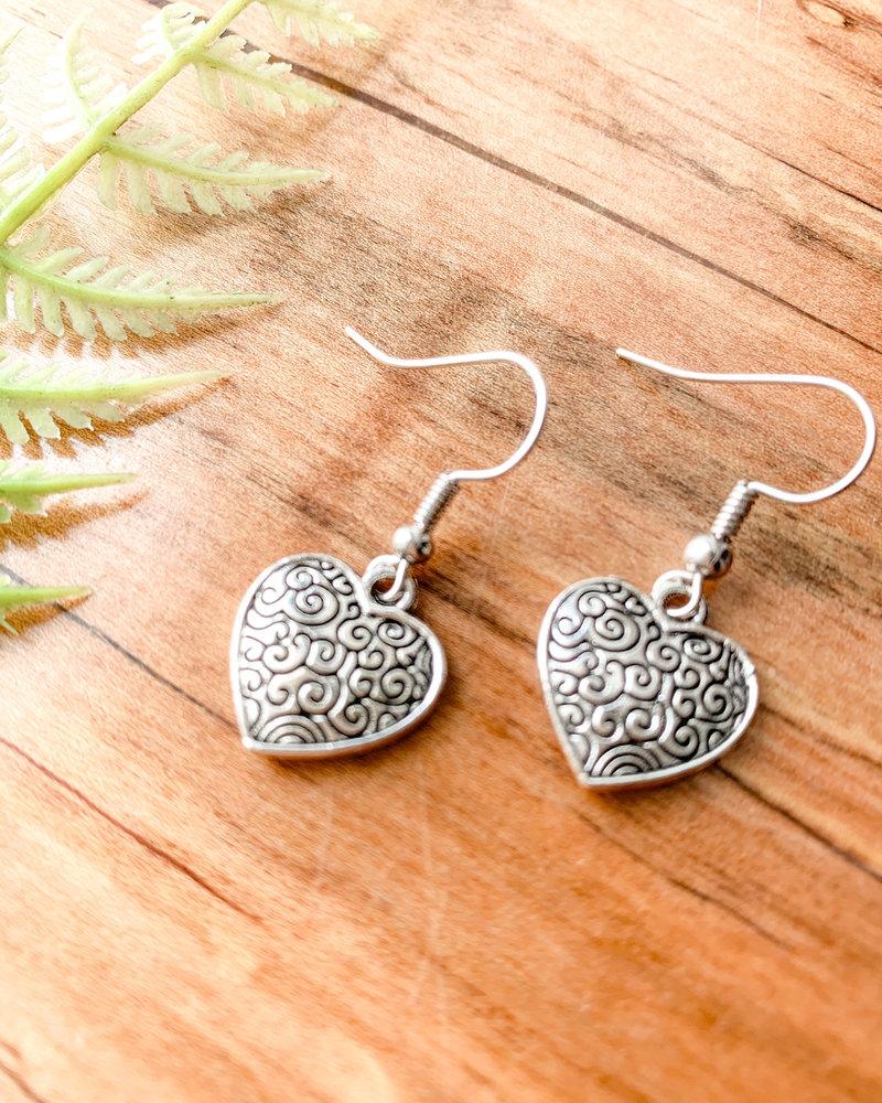 Silver Filigree Heart Earrings