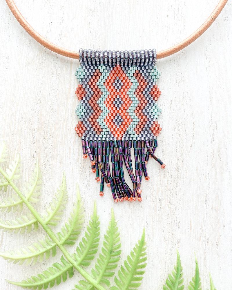 Jessica Payne Hand Beaded Blue/Green/Rust Dangle Pendant Necklace