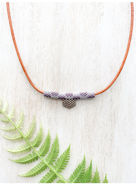 Jessica Payne Hand Beaded Purple and Silver Necklace