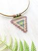 Jessica Payne Hand Beaded Purple/Green/Yellow Pendant Necklace