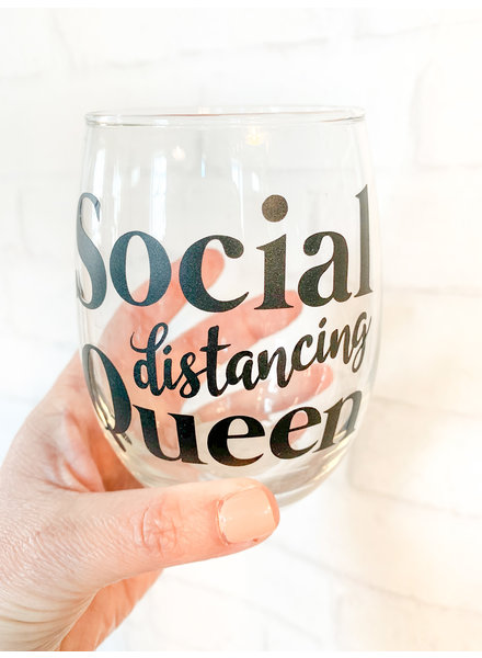 Social Distancing Queen Stemless Wine Glass