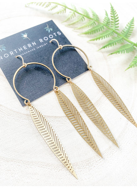 Northern Roots Handmade Brass Feather Earrings 2837