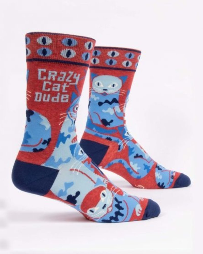 Blue Q Mens Tall Socks Crazy Cat Dude