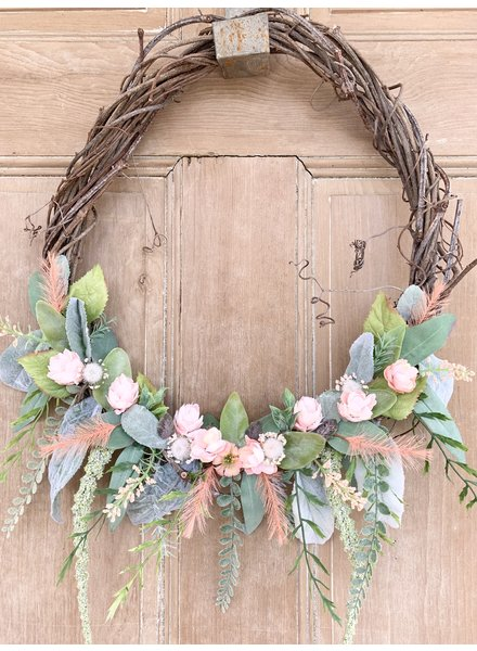 Balsam and Willow by Julie Coral Flower Bud with Hanging Greens Wreath
