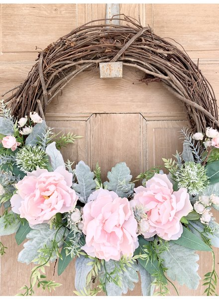 Balsam and Willow by Julie Pink Peony and Willow Wreath