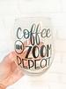 Coffee Zoom Repeat Stemless Wine Glass