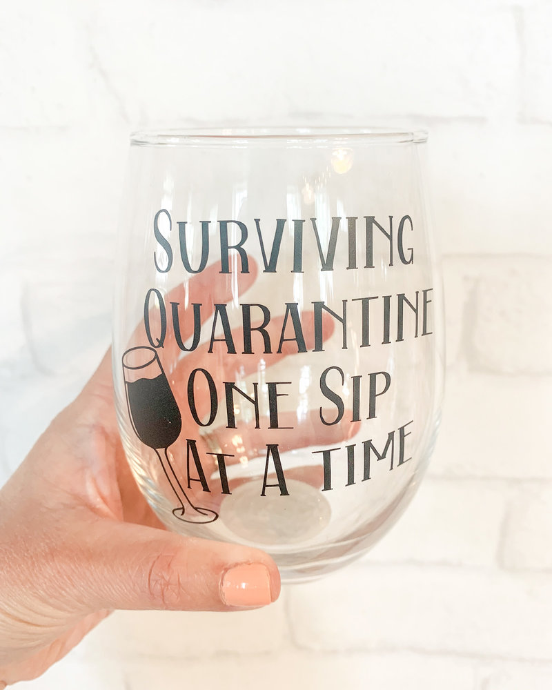 Surviving Quarantine Stemless Wine Glass