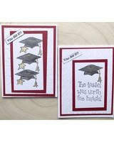 Maroon and White Pop Up Graduation Card