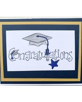 Blue and Gold Graduation Pop Up card