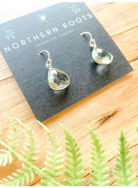 Northern Roots Green Amethyst Rounded Teardrop Earrings 2878