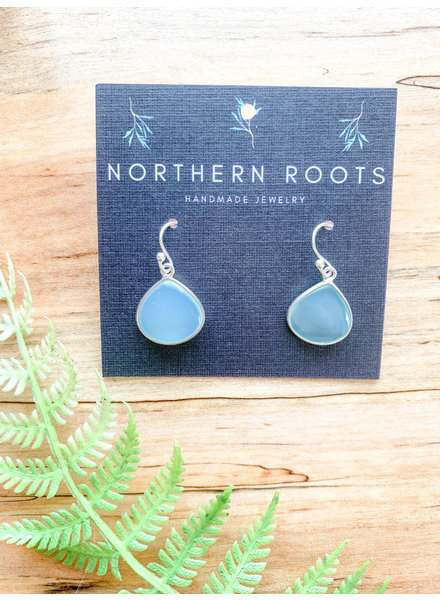 Northern Roots Aqua Chalcedony Teardrop Earrings