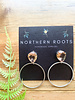 Northern Roots Rodium Plated Peach Glass Teardrop Studs and Hoop  2874