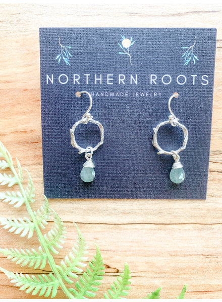 Northern Roots Moss Aquamarine on Rhodium Plated Branch Hoops  2881