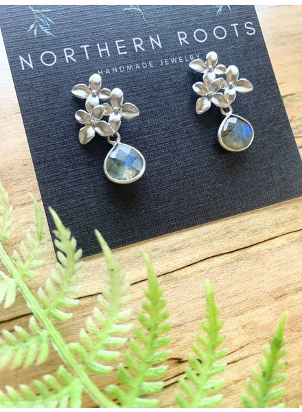 Northern Roots Labradorite Teardrops on Rhodium Plated Triple flower Earrings  2883