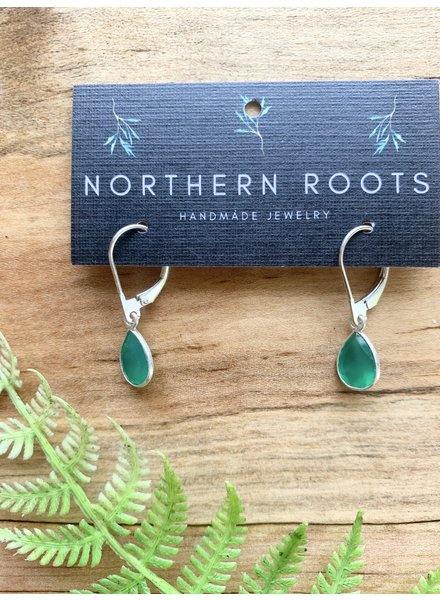 Northern Roots Tiny Green Onyx Teardrop Earrings