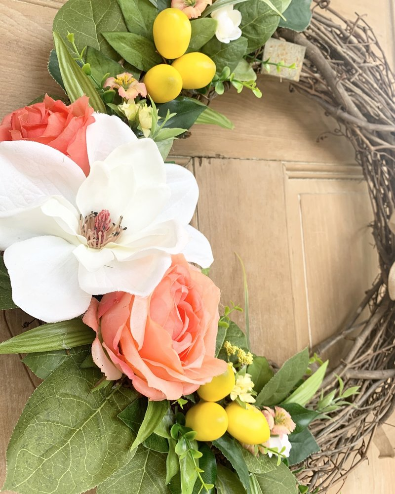 Balsam and Willow by Julie Magnolia, Coral Rose and Lemon Wreath
