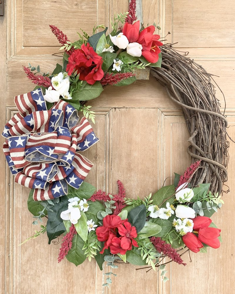 Balsam and Willow by Julie Red, White and Blue Star Ribbon Wreath
