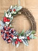 Balsam and Willow by Julie Red, White and Blue Plaid Ribbon Wreath