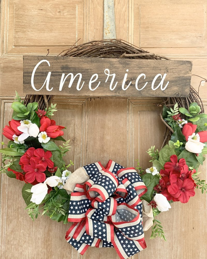 Balsam and Willow by Julie Red, White and Blue America Sign Wreath