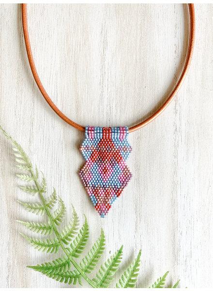Jessica Payne Blue. Pink & Orange Arrow Pendant Necklace