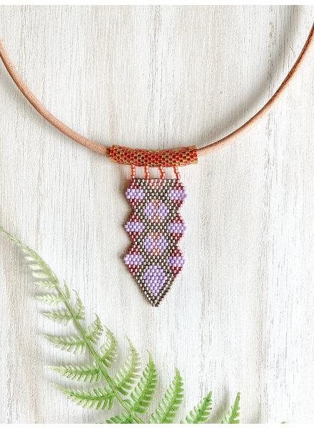 Jessica Payne Lavender, Pink and Bronze Arrow Pendant Necklace