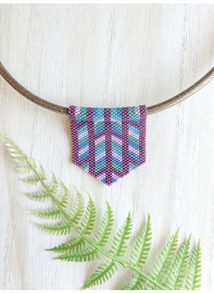 Jessica Payne Large Purple, Pink & Blue Pendant Necklace
