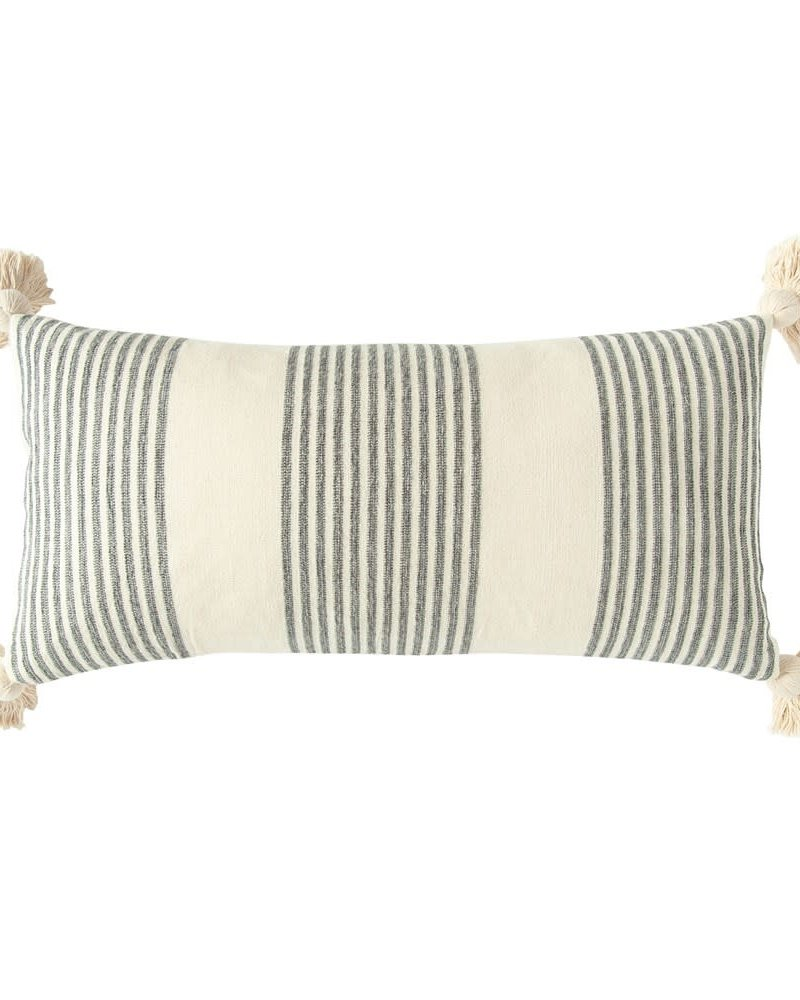 Creative Co Op Black and White Striped Pillow With Tassels