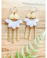 Field of Flutterflies-Erin Orr Ivory and Brass Handmade Clay earrings