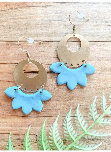 Field of Flutterflies-Erin Orr Blue and Brass Handmade Clay Earrings