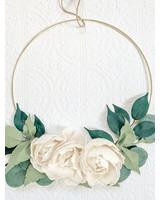 Gold Hoop with Handmade Cream Felt Flowers