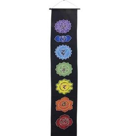 Kheops International Long Black Chakra hand painted banner