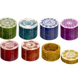 Kheops International Round Soapstone Trinket Box - Chakra